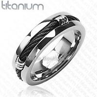 Men's 7mm Solid Titanium Black IP Wire Rope Inlay Wedding Band Size 9-14