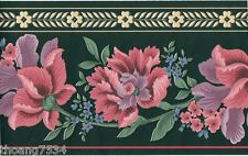 Victorian Traditional Rose Pink Lavender Floral Flower Green Wall paper Border