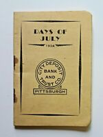 1934 Bank Deposit Booklet City Deposit Bank And Trust Co. Pittsburgh, PA 5200