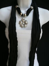 New Women Necklace Scarf Fashion Black Soft Hearts Flower Silver Bead Pendant