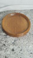 "Medium Size Wooden Dish Tray Handmade Lathe Plate with Lip Wood 8 1/2"" Across"