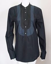 NWT Authentic ALEXANDER McQUEEN Black Cotton Poplin Shirt Blouse IT-46 US-8 M