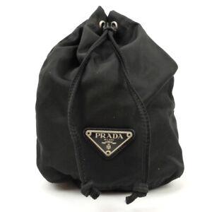 PRADA Drawstring pouch mini bag nylon black triangle logo