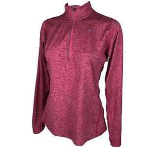 Nike Running Dri-Fit Element 1/2 Zip Running Top Women's Medium Pink T111