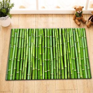 Bamboo Door Green Nature Room Floor Carpet Non-skid Door Bath Mat Decor Rugs