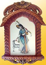 Traditional wooden antique frame jharokha with lady figure deer painting poster