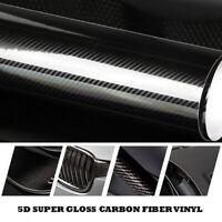 5D Shiny Gloss Glossy Carbon Fiber Film Wrap Vinyl Decal Car Sticker 1.52m*20cm