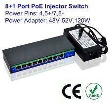 48V/52V 120W 9 Ports 8 PoE Injector Power Over Ethernet Switch 4,5+/7,8- Mode B