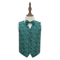 DQT Woven Floral Paisley Teal Boys Wedding Waistcoat & Bow Tie Set