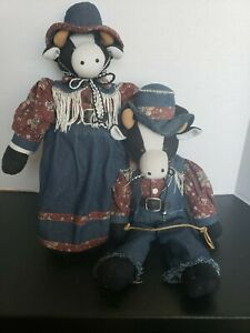 Cow Cowboy & Cow Cowgirl Stuffed Cows 15 inches tall