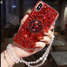 Bling Crystals Diamonds Holder Stand back soft Case Cover For BlackBerry & strap