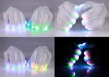 USA SELLER White Rave Gloves, 6 modes, Multicolor LED Fingertip Lights O/S 30202