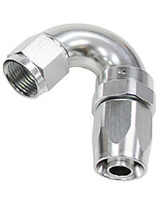 Aeroflow 150 Taper Full Flow Swivel 150 Degree Hose End -4AN Silver (AF155-04S)