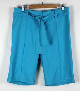 SUNSEEKER Size 16 Womens Swim Shorts Boardies Turquoise Blue Zip Fly Self Tie
