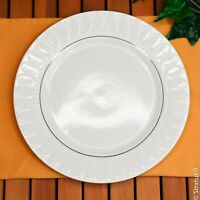 """GIBSON China - 10-1/2"""" Dinner Plate - White w/Gold Trim & Embossed Petals"""