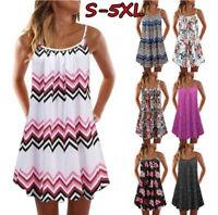 Vintage Boho Women Summer Sleeveless Dress Beach Printed Short Mini Dresses