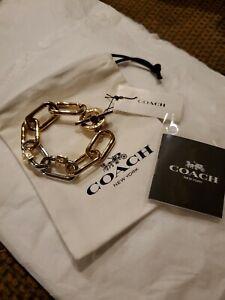 Coach Logo Two-tone Link Toggle Bracelet NWT $155