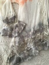 Sundance Medium Lightweight Cardigan Lace Trim Tie Dye Charcoal Gray White Coral