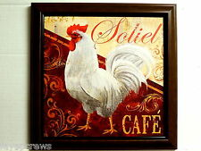 ROOSTER PICTURE WHITE ROOSTER KITCHEN  SOLIEL CAFE  FRAMED 12X12
