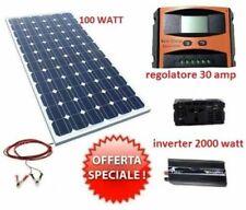 KIT FOTOVOLTAICO 1KW GIORNALIERO INVERTER 2000W PANNELLO ENERGIA SOLARE 30A PWM