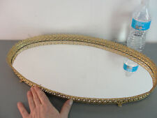 OVAL MID CENTURY MODERN MIRRORED VICTORIAN VANITY PERFUME DRESSER TOP TRAY 11x21