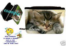 portefeuille avec porte-monnaie chat  personnalisable avec prénom réf 04
