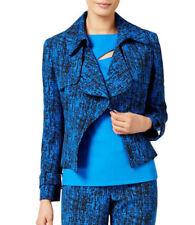 Anne Klein Printed Jacquard Cropped Trench Jacket Bizet Blue Black