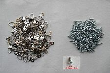 Lot of 100 One-Hole Triangle D-Ring Frame Picture Mirror Hangers with 100 Screws