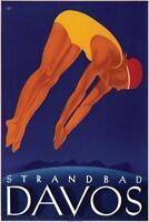 Davos Strandbad Swimmer Vintage Travel Art Print Mural Poster 36x54 inch