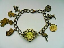 NEW  Handmade Alice in Wonderland Bronze Charm Bracelet Quartz Watch  19.5cm  a