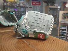 """New Rawlings Girls Infield Pitchers Softball Glove Leather WPL11GM 11"""" Gray/Teal"""