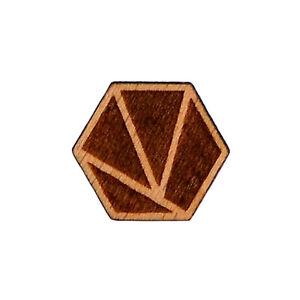 Geometric Hexagon Wood Lapel Pin