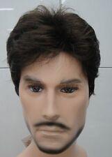 New MEN Short Dark Brown  Curly Synthetic FULL Wigs+wig cap
