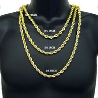 """Hip Hop 14K Gold Plated 8mm Thick Heavy Rope Chain Necklace 24"""" 30"""" 36"""" inches"""