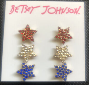 Betsey Johnson Fireworks Red,White & Blue Star Crystal Stud Earrings 3 Pairs NWT