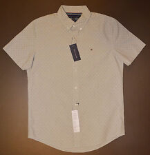 NWT TOMMY HILFIGER men Casual Short Sleeve Shirt, M. Medium, Gray, New York Fit