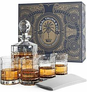 Regal Trunk Whiskey Decanter Set in a Gift Box - Lead Free Crystal Glass Whis...