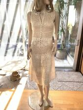 Lim'S Vintage All Hand Crochet Sleeveless Midi Dress, Size M, Color Natural
