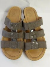 Gorgeous Grey Slip On Strappy Sparkly Cork Heel Mules from Easy Street - Size 6