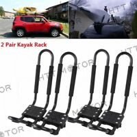 2 Pairs Kayak Carrier Boat SUV Canoe Surf Ski Snowboard Roof Mount J-Bar Rack