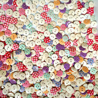 100X Mixed Bulk Round Mutil-Colors Dots Wood Buttons Lots Embellish X5N9 Y1K9