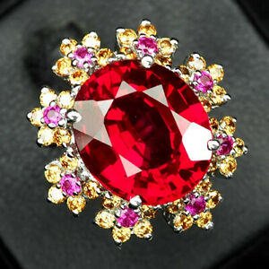 SAPPHIRE PINK PADPARADSCHA OVAL 12.70 CT. RUBY 925 STERLING SILVER RING SZ 6.25