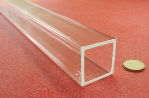 """Acrylic Square Tube Clear Extruded 1.50"""" SQ x .125"""" Wall x 72"""" Length, -056"""