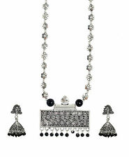 Antique Oxidised Silver Tribal Banjara Necklace With Jhumki Earring For Women