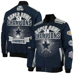 Dallas Cowboys Triumph 5 Time Super Bowl Champions Cotton Twill Jacket - Navy