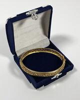 Vintage Avon Gold Tone Bangle With Safety Clasp Filigree Elegant Pretty Costume