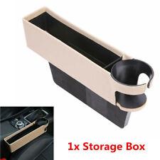 1X Beige PU Leather Car Seat Crevice Storage Box Gap Filler Cup Holder Universal