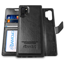 Galaxy Note 10+ Wallet Case [2 in 1 Detachable] AMOVO Vegan Leather for Samsung