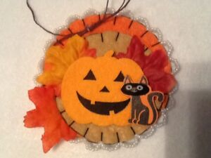 black cat  pumpkin ornaments for halloween tree decorating
