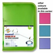Premier Office A4 Secure Zip Up Storage 2 Ring Binder Pastel Colours x1